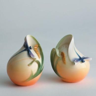 Franz Porcelain Dragonfly Salt and Pepper Shakers