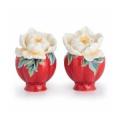 "Franz Porcelain ""Venice"" peony salt & pepper shakers"