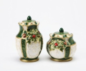 Green/White Gold-Trimmed with Holly Salt and Pepper Collectible