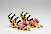 6cm Yellow Leopard Print Heels with Pink Bows Salt and Pepper