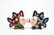 8.9cm Red and Black, Blue and Black Kissing Fish Salt and Pepper