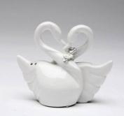 8.9cm White Loving Swan Couple Statuette Salt and Pepper Shakers