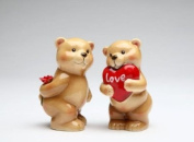 Lover Bear Couple with Heart Gift and Rose Salt/Pepper Collectible
