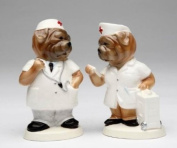 Multi Coloured Animated Hospital Staff Dogs Salt and Pepper Pots