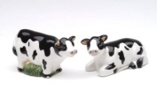 White and Black Porcelain Miniature Cows Salt and Pepper Dispensers