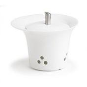 Ellipse White Porcelain & S/S Garlic Keeper by Trudeau - 10.2cm