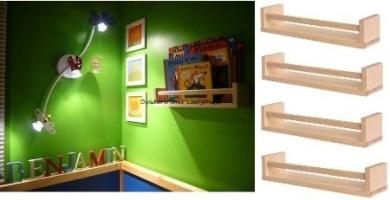 Ikea 4 Wooden Spice Rack Nursery Book Holder Kids Shelf Kitchen Bathroom Accessory Storage Organiser Birch Natural Wood