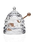 BEEHIVE CRYSTAL HONEY JAR WITH WOOD DIPPER