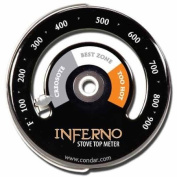Inferno Stove Top Metre (3-30) thermometer calibrated to measure temperatures on stove top. Rich black porcelain enamel. . new design featuring grey, white, and orange recommended burn-temperature zones. Helps you conserve wood and avoid excess c ..