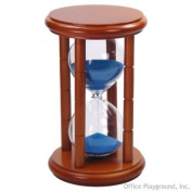 15 Minute Sand Timer - Blue Sand in Natural Stand - 16.5cm Tall