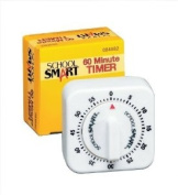 School Smart Small 60-Minute Timer with Bell - 2 1/2 x 2 1/2 x 1 3/8 - White