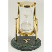 Brass / Green Marble 30 Minute Sand Timer with Medical Emblem - White Sand