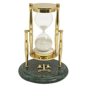 Brass / Green Marble 30 Minute Sand Timer with Legal Emblem - White Sand