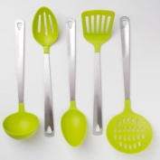 Cook's Corner 5-Piece Kitchen Utensil Set - Stainless Steel & Lime Green
