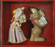 Nikko 3D Christmas Salt and Pepper Shakers Girl and Teddy Bear w/Gifts