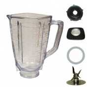 5 cup, square top plastic blender jar, complete. Fits Oster.