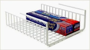 Under Shelf Wire Rack Basket Kitchen Organiser - White - Easy to Instal