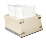 Century Components - Kitchen Pull Out Waste Bin Container - 33.1l White Double - Maple - Bottom Mount, 14-2.2cm