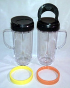 2 Bullet On The Go Mugs for Magic Bullet with Flip Top Travel Lids