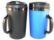2 ThermoServ Foam Insulated Coffee Mugs 1010ml (1)Blue & (1)Black