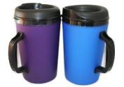 2 ThermoServ Foam Insulated Coffee Mugs 1010ml (1) Purple & (1) Blue