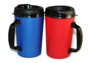 2 ThermoServ Foam Insulated Coffee Mug 590ml w/Lids (1)Blue & (1)Red