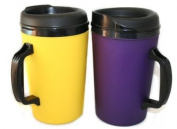 2 ThermoServ Foam Insulated Coffee Mugs 1010ml (1) Purple & (1) Yellow
