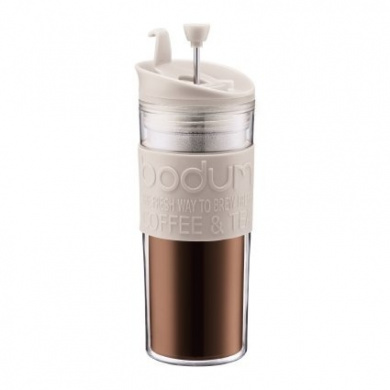 Bodum Insulated Plastic Travel French Press Coffee and Tea Mug, 0.45-Litre, 440ml, White
