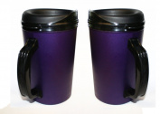 2 ThermoServ Foam Insulated Coffee Mug 590ml w/Lids - (2) Purple