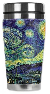 Mugzie® brand 470ml Travel Mug with Insulated Wetsuit Cover - Van Gogh: Starry Night