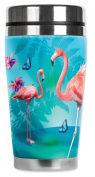 Mugzie® brand 470ml Travel Mug with Insulated Wetsuit Cover - Flamingo's & Butterflies
