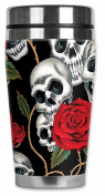 Mugzie® brand 470ml Travel Mug with Insulated Wetsuit Cover - Skull & Roses