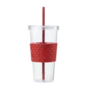 Iced Beverage 710ml Cup w/Straw & Red Sleeve