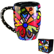Romero Britto Round Butterfly Mug Cup Coffee Drink Tea Ceramic Giftcraft Decor !