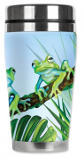 Mugzie® brand 470ml Travel Mug with Insulated Wetsuit Cover - Green Frogs