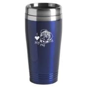 16-ounce Stainless Travel Mug - I Love My Pug - Blue