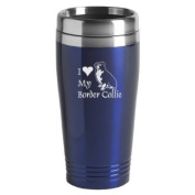 16-ounce Stainless Travel Mug - I Love My Border Collie - Blue