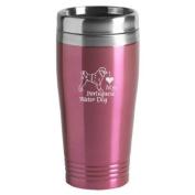 16-ounce Stainless Travel Mug - I Love My Rottweiler - Pink