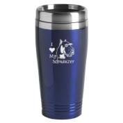 16-ounce Stainless Travel Mug - I Love My Schnauzer - Blue