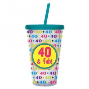 40 and Fab,Insulated Cup with Straw 500ml,Tumbler,4x10.2cm x 15.9cm