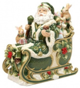 Cosmos Gifts 27.6cm Emerald Holiday Holly Santa Cookie Jar