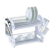 HDS Trading DD10246 Dish Drainer 2 Tier Plastic White