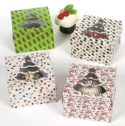 Christmas Holiday Cupcake Boxes - 12 Pack