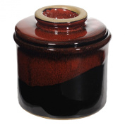 French Butter Keeper in Red on Black