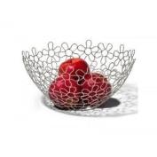 Chrome Flower Fruit Bowl Holder Steel Wire Basket Kitchen