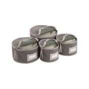 Richards Homewares Micro Fibre Deluxe Plate Case, Set of 4-Grey