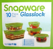 Snapware Glasslock Glass Storage Containers with Lids 10pc Set Nesting Design, Oven Safe