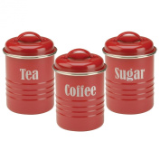 Typhoon Vintage Kit Tea, Coffee and Sugar Set, Red