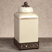 GG Collection Large Cream Ceramic Canister with Metal Base