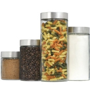 Anchor Hocking 4 Piece Cylinder Glass Canister Set With Screwing Stainless Steel Lids